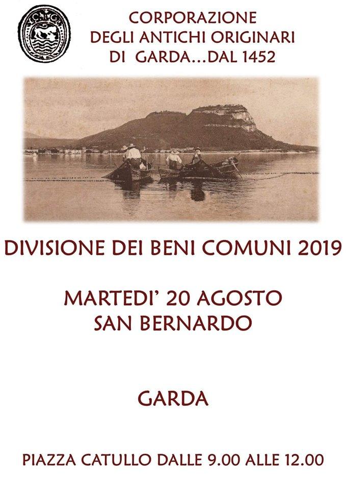 Locandina Divisione dei beni comuni - Corporazione Antichi Originari - Garda, Piazza Catullo, 20 agosto 2019 dalle ore 09.00 alle 12.00