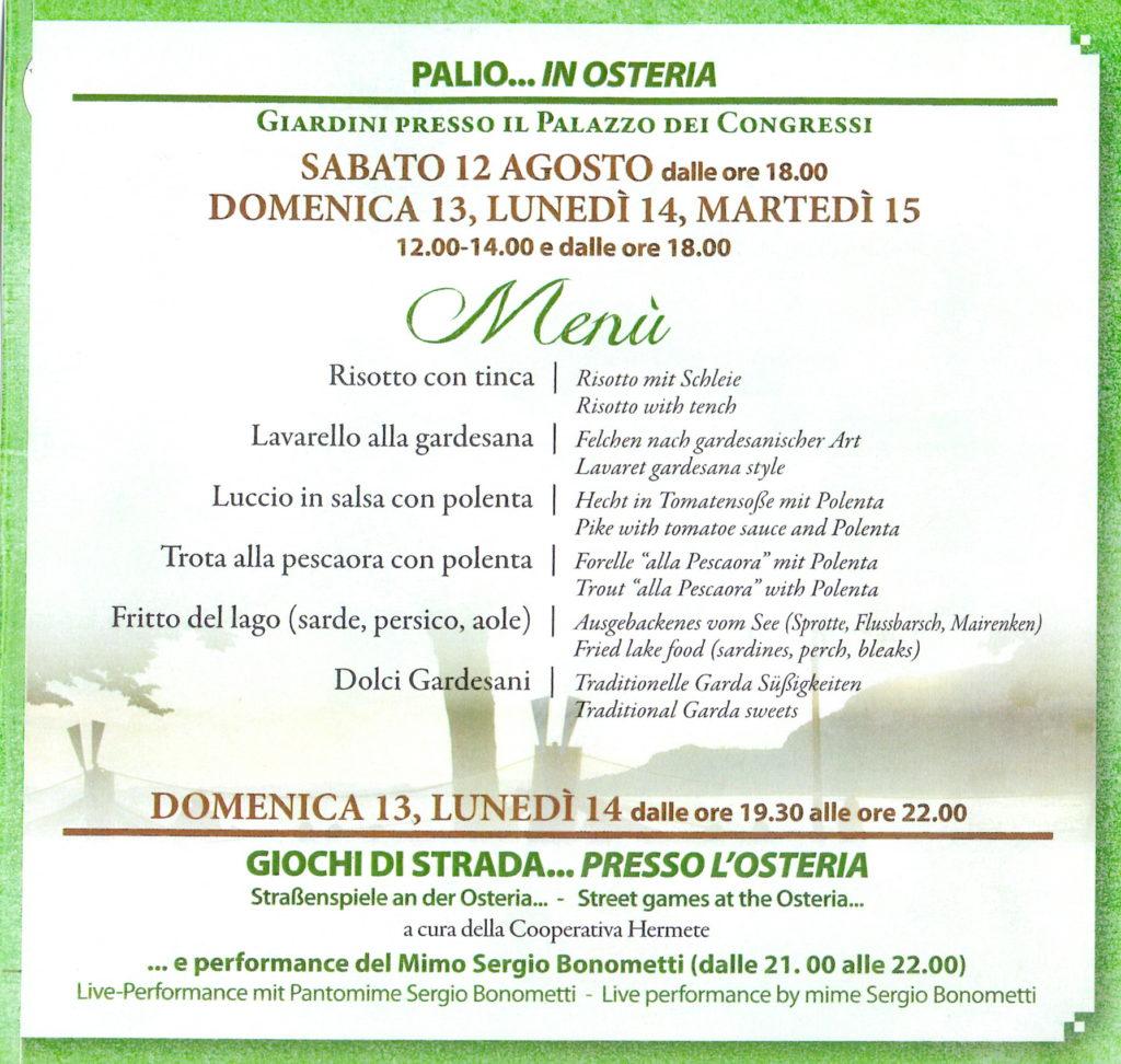 PALIO… IN OSTERIA - Pranzi e cene a base di pesce di lago - Garda, 12-13-14-15 agosto 2017