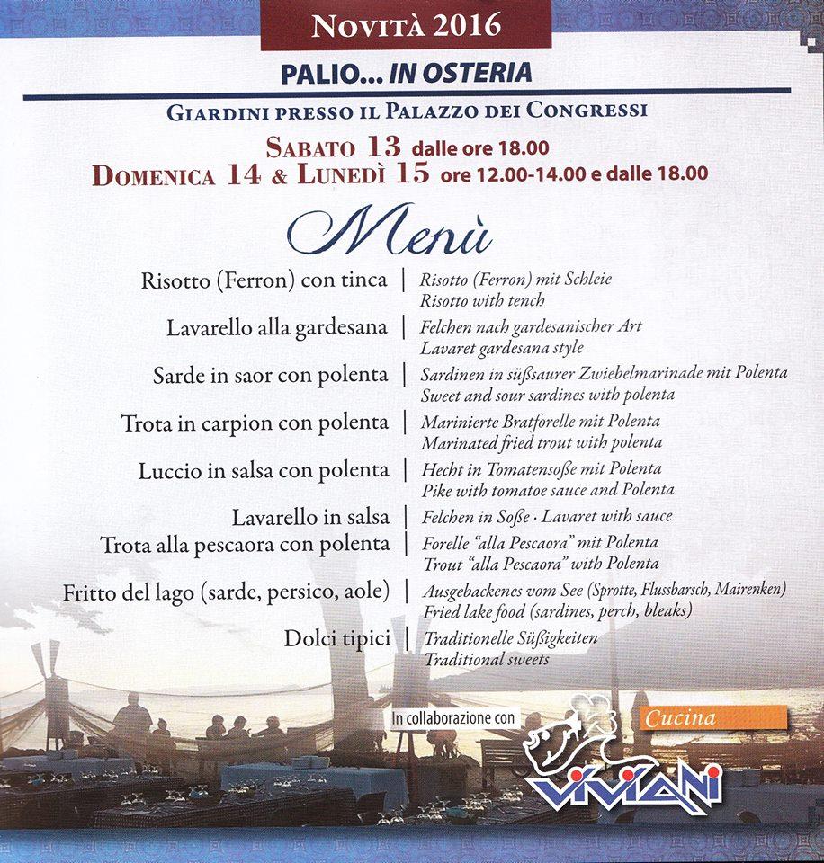1) Menù PALIO... IN OSTERIA - Garda 13-14-15 agosto 2016